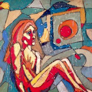 painting-cornwall-woman-reflective