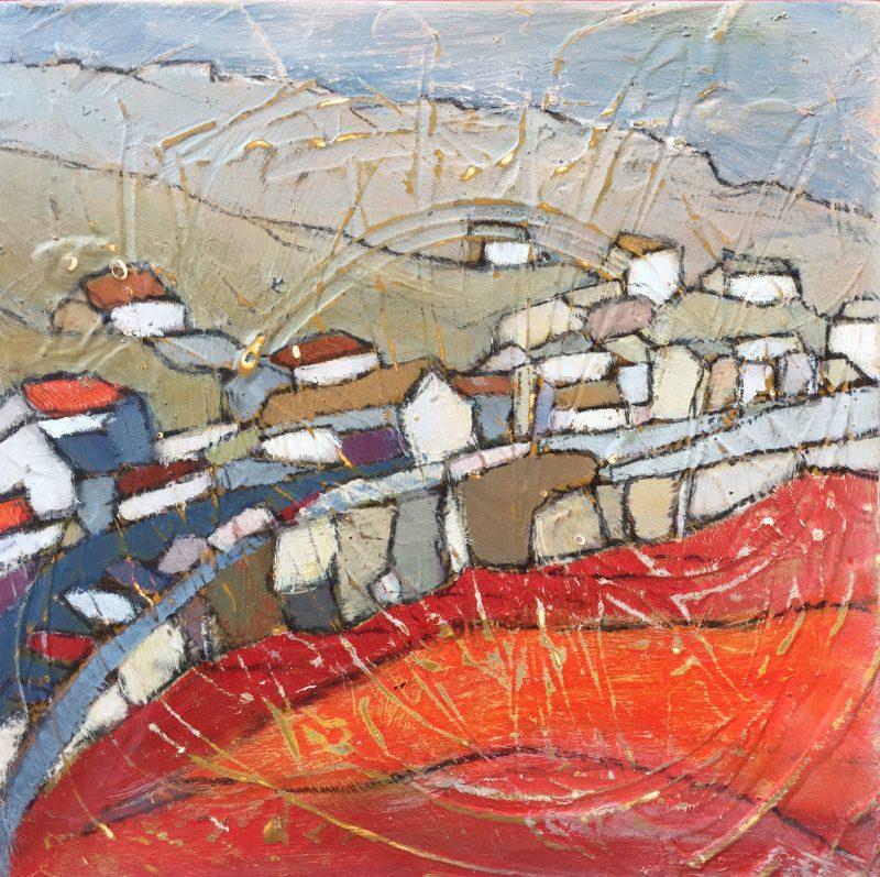 painting sea Cornwall beach seen