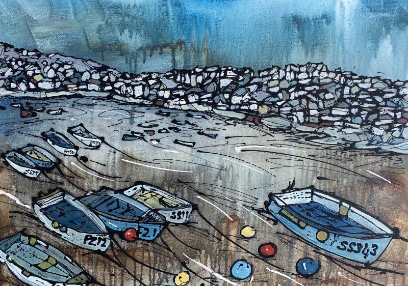st ives, cornwall, painting, boats, art