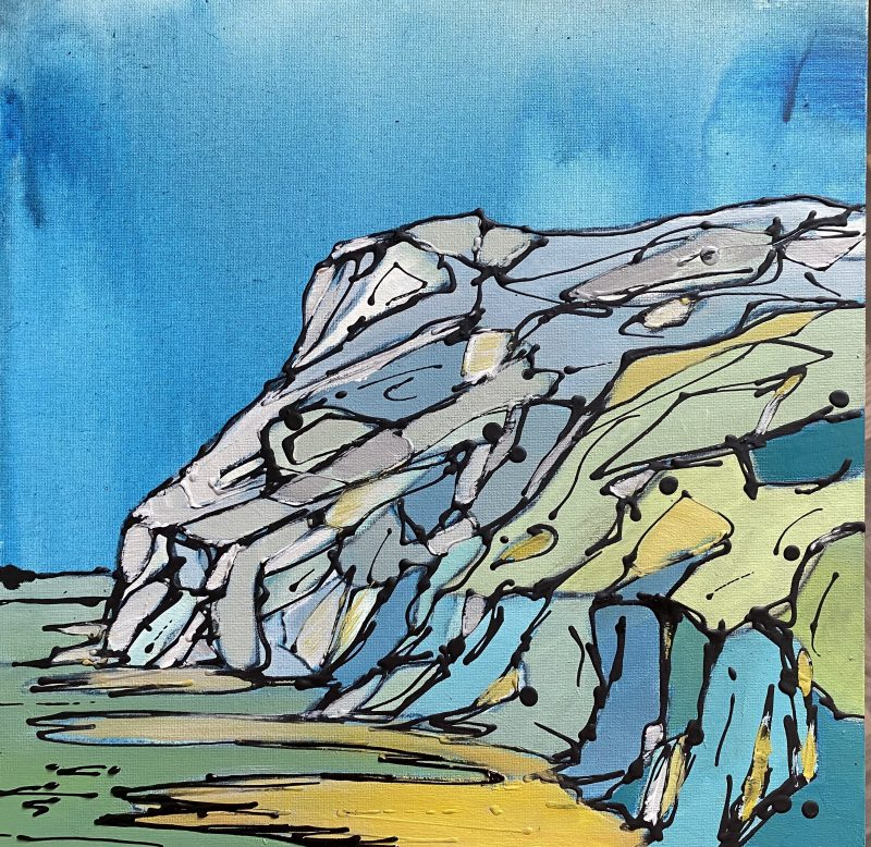 painting, pentire, Cornwall, Polzeath, blue